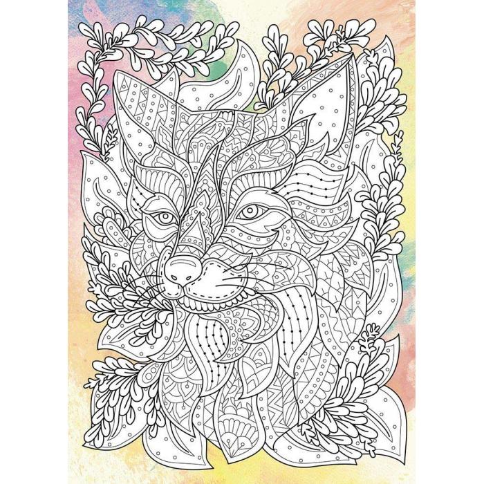 Дзен рисование Загадочный волк. Антистресс раскраска ...